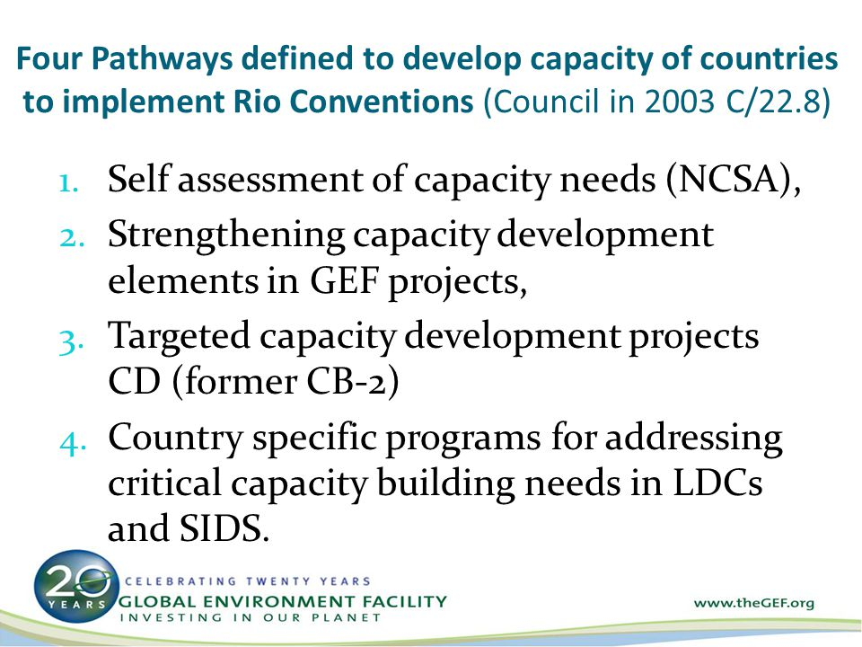Four Pathways defined to develop capacity of countries to implement Rio Conventions (Council in 2003 C/22.8) 1.