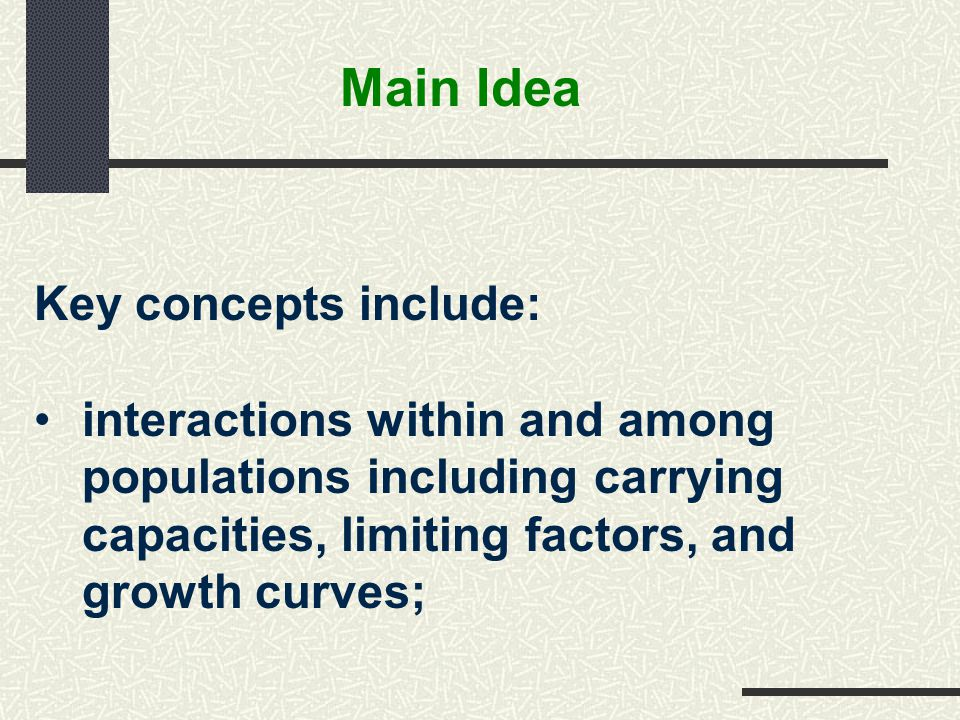 Main Idea Key concepts include: interactions within and among populations including carrying capacities, limiting factors, and growth curves;