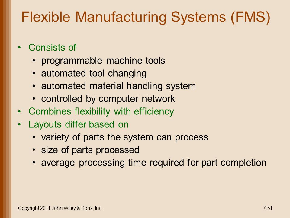 Flexible Manufacturing Systems (FMS) Consists of programmable machine tools automated tool changing automated material handling system controlled by computer network Combines flexibility with efficiency Layouts differ based on variety of parts the system can process size of parts processed average processing time required for part completion Copyright 2011 John Wiley & Sons, Inc.7-51