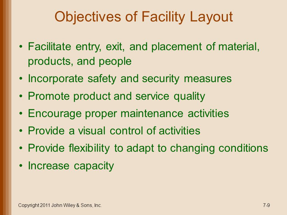 Objectives of Facility Layout Facilitate entry, exit, and placement of material, products, and people Incorporate safety and security measures Promote product and service quality Encourage proper maintenance activities Provide a visual control of activities Provide flexibility to adapt to changing conditions Increase capacity 7-9Copyright 2011 John Wiley & Sons, Inc.