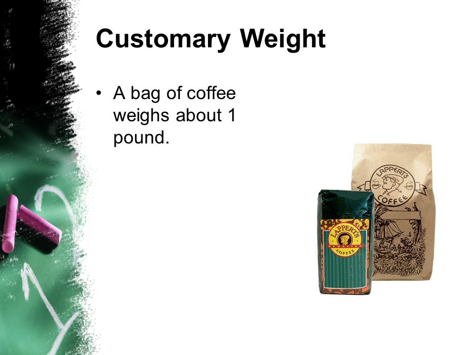 A bag of coffee weighs about 1 pound.