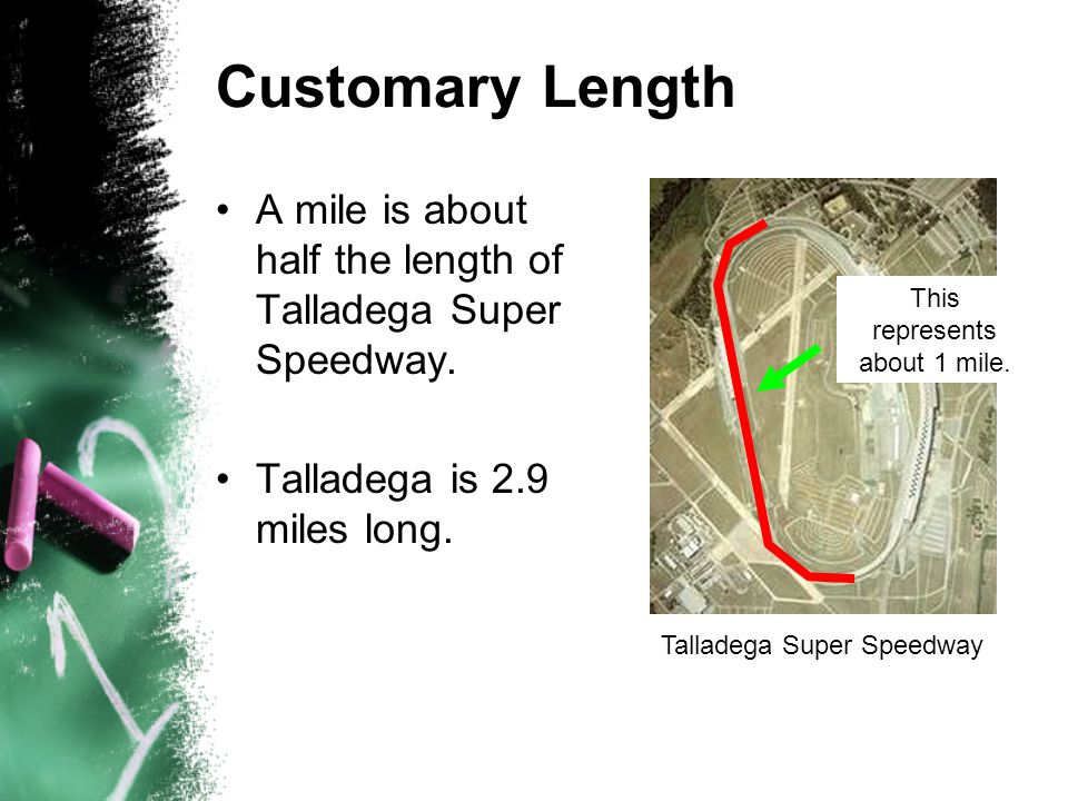Customary Length A mile is about half the length of Talladega Super Speedway. Talladega is 2.9 miles long. Talladega Super Speedway This represents ab