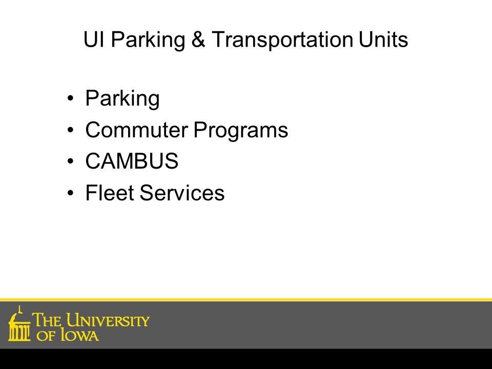 Sustainability Programs Focus Commuter Travel – TDM Transportation Demand Management UI Fleet Vehicles Other Efforts
