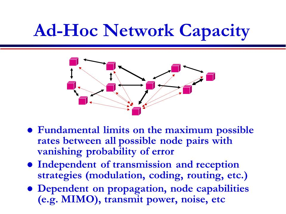 Ad-Hoc Network Capacity Fundamental limits on the maximum possible rates between all possible node pairs with vanishing probability of error Independent of transmission and reception strategies (modulation, coding, routing, etc.) Dependent on propagation, node capabilities (e.g.