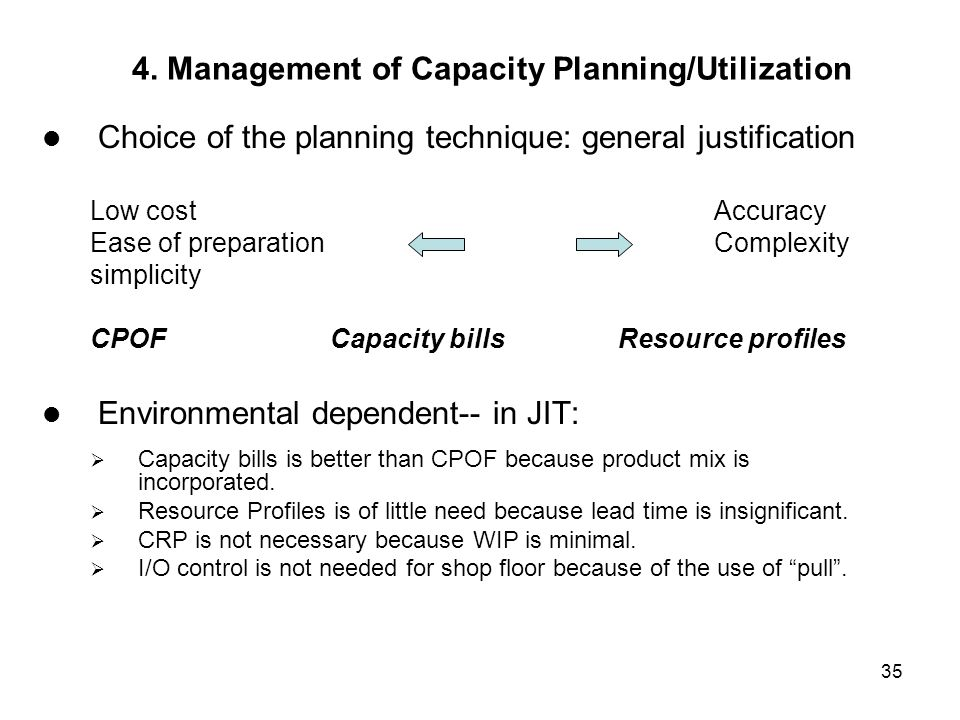 35 4. Management of Capacity Planning/Utilization Choice of the planning technique: general justification Low costAccuracy Ease of preparationComplexi