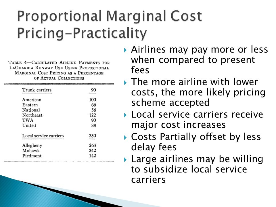 Airlines may pay more or less when compared to present fees The more airline with lower costs, the more likely pricing scheme accepted Local service carriers receive major cost increases Costs Partially offset by less delay fees Large airlines may be willing to subsidize local service carriers