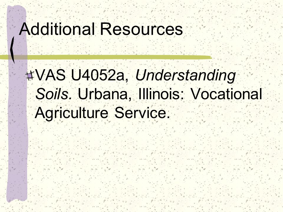 Additional Resources VAS U4052a, Understanding Soils.