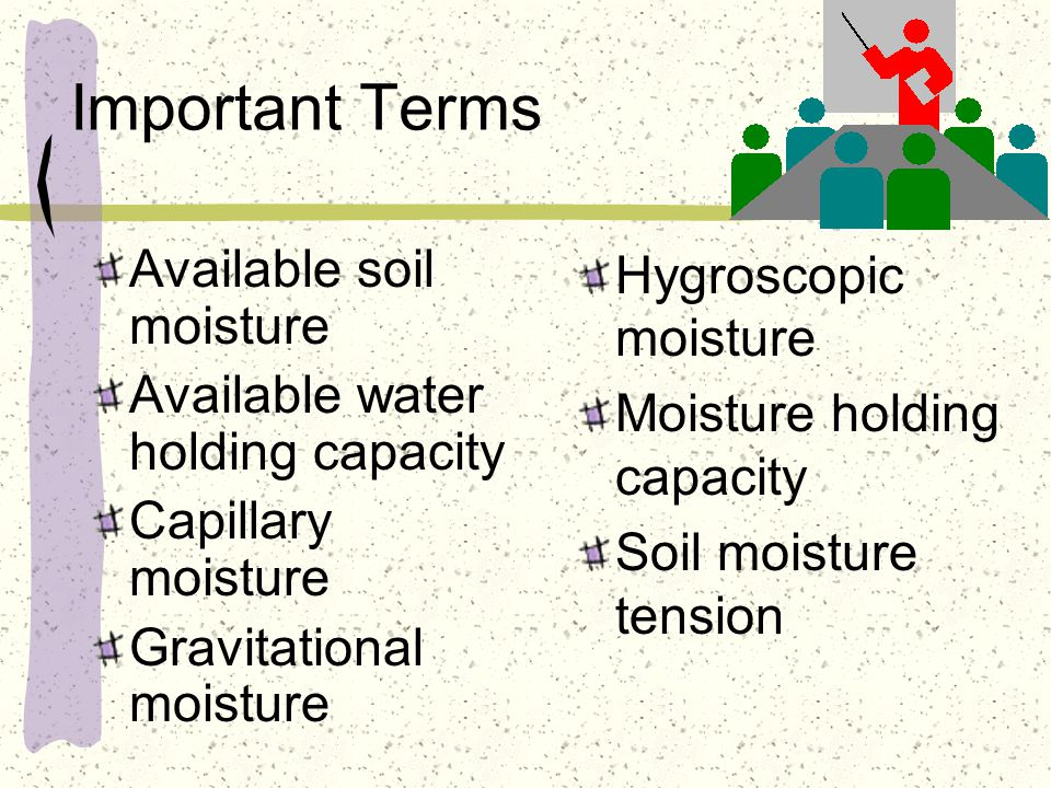 Available water holding capacity depends on: On average, the following textures will hold the designated amount of moisture per inch of soil: fine textured.20 inches moderately fine textured.25 inches medium textured.30 inches moderately coarse textured.20 inches coarse textured.10 inches