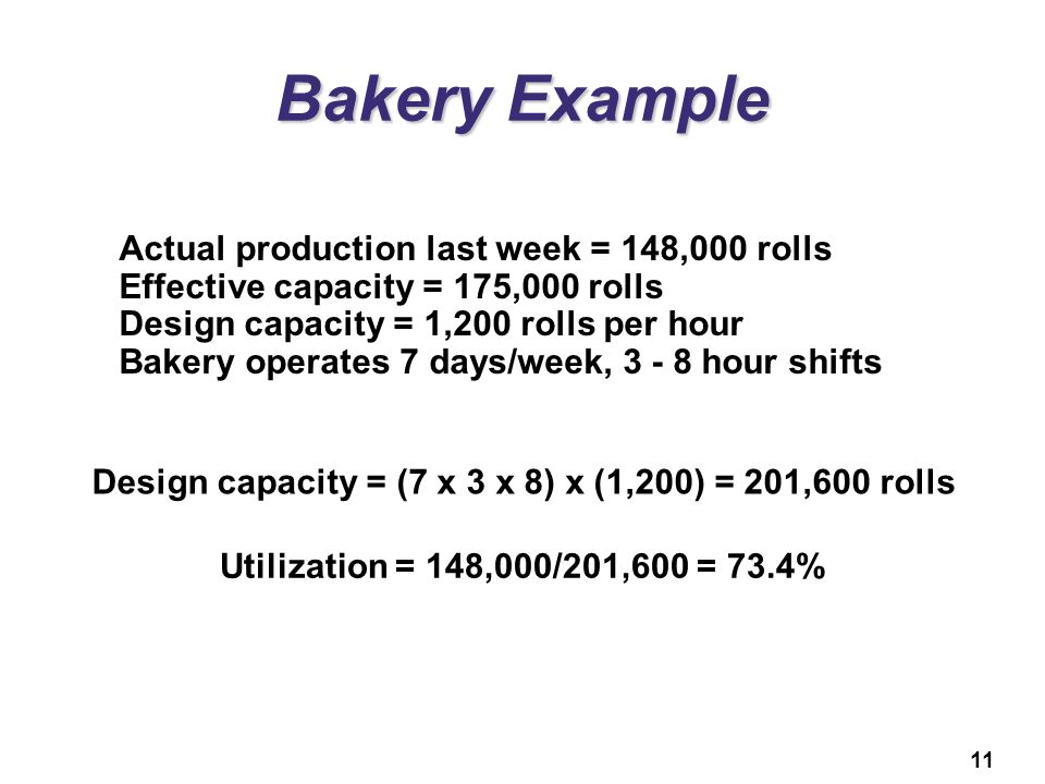 11 Bakery Example Actual production last week = 148,000 rolls Effective capacity = 175,000 rolls Design capacity = 1,200 rolls per hour Bakery operate