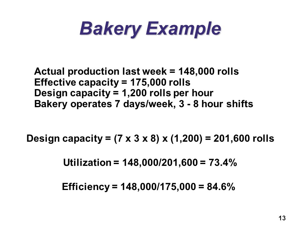 13 Bakery Example Actual production last week = 148,000 rolls Effective capacity = 175,000 rolls Design capacity = 1,200 rolls per hour Bakery operates 7 days/week, 3 - 8 hour shifts Design capacity = (7 x 3 x 8) x (1,200) = 201,600 rolls Utilization = 148,000/201,600 = 73.4% Efficiency = 148,000/175,000 = 84.6%