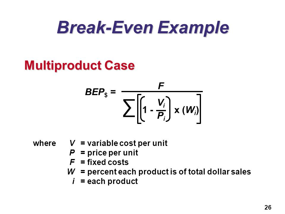 26 Break-Even Example BEP $ = F 1 - x (W i ) ViPiViPi Multiproduct Case whereV= variable cost per unit P= price per unit F= fixed costs W= percent eac