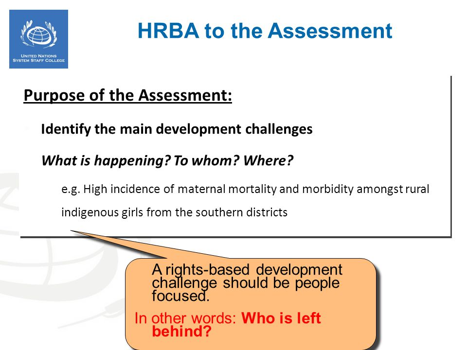 Purpose of the Assessment: Identify the main development challenges What is happening? To whom? Where? e.g. High incidence of maternal mortality and m