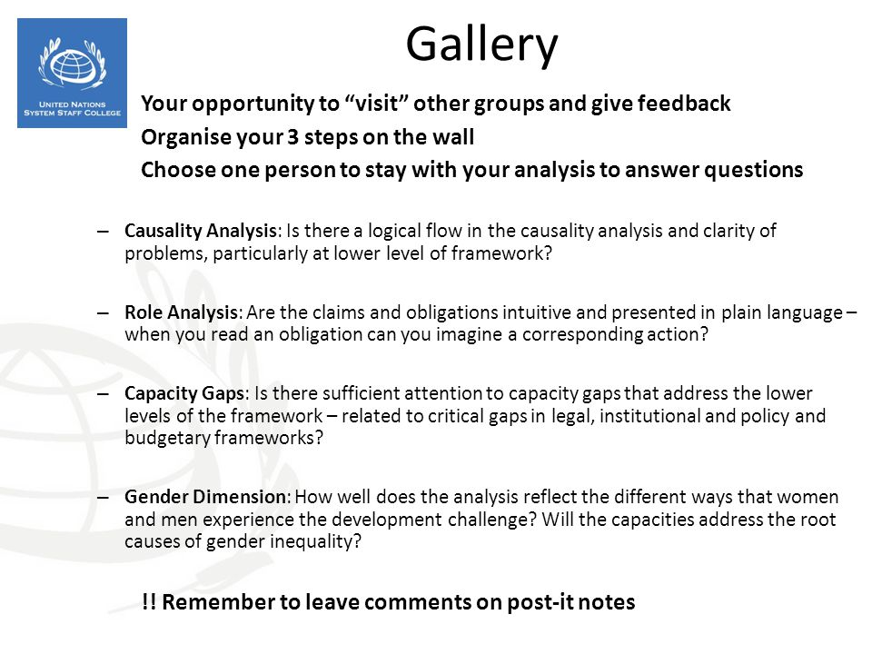 Gallery Your opportunity to visit other groups and give feedback Organise your 3 steps on the wall Choose one person to stay with your analysis to ans