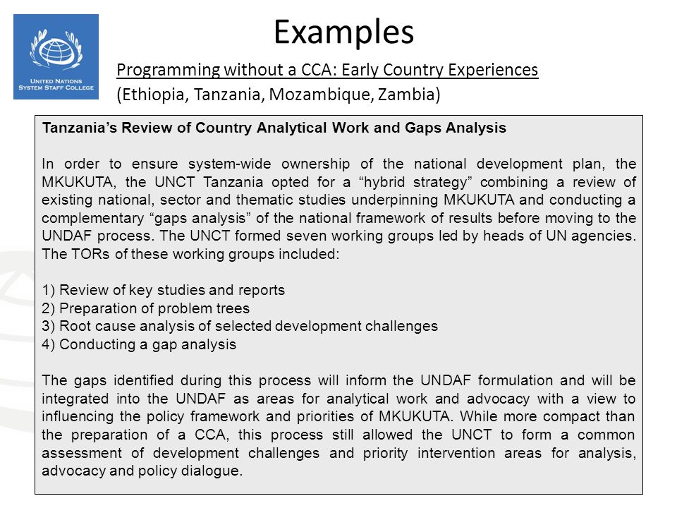 Programming without a CCA: Early Country Experiences (Ethiopia, Tanzania, Mozambique, Zambia) Examples Tanzanias Review of Country Analytical Work and