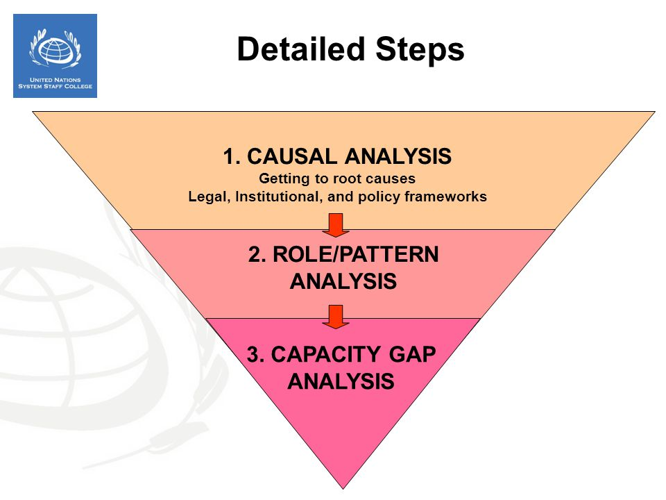 1. CAUSAL ANALYSIS Getting to root causes Legal, Institutional, and policy frameworks 2. ROLE/PATTERN ANALYSIS 3. CAPACITY GAP ANALYSIS Detailed Steps