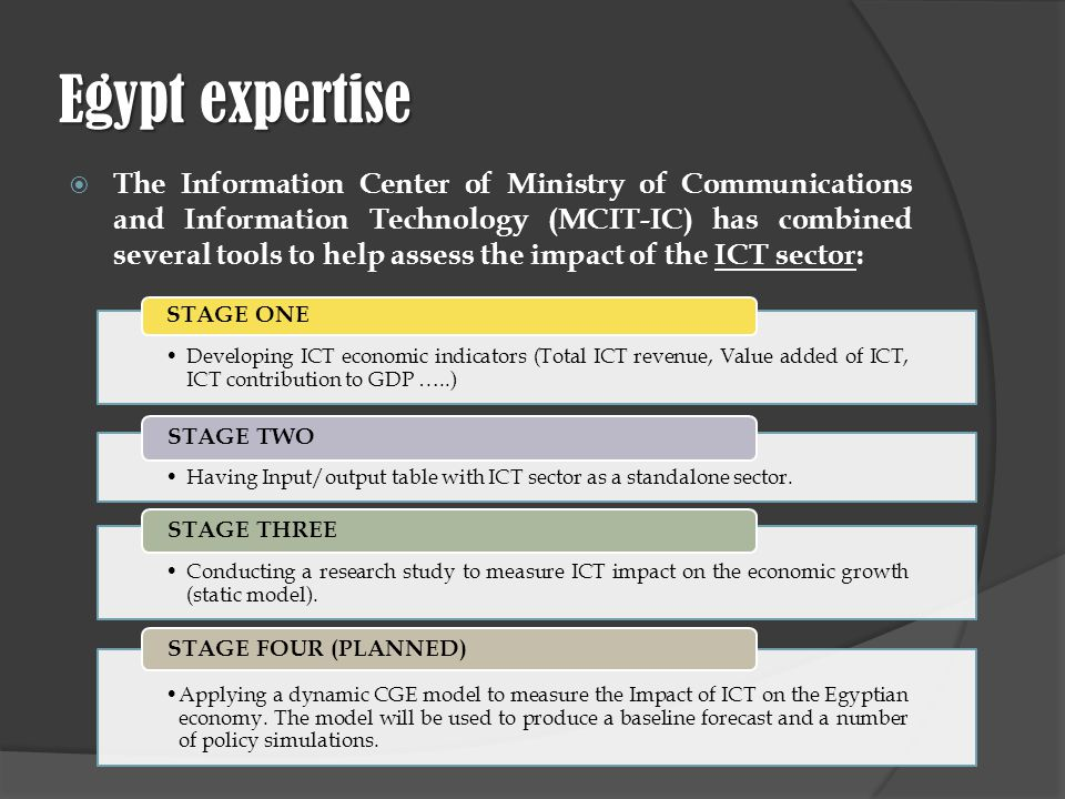 Egypt expertise The Information Center of Ministry of Communications and Information Technology (MCIT-IC) has combined several tools to help assess the impact of the ICT sector: Developing ICT economic indicators (Total ICT revenue, Value added of ICT, ICT contribution to GDP …..) STAGE ONE Having Input/output table with ICT sector as a standalone sector.