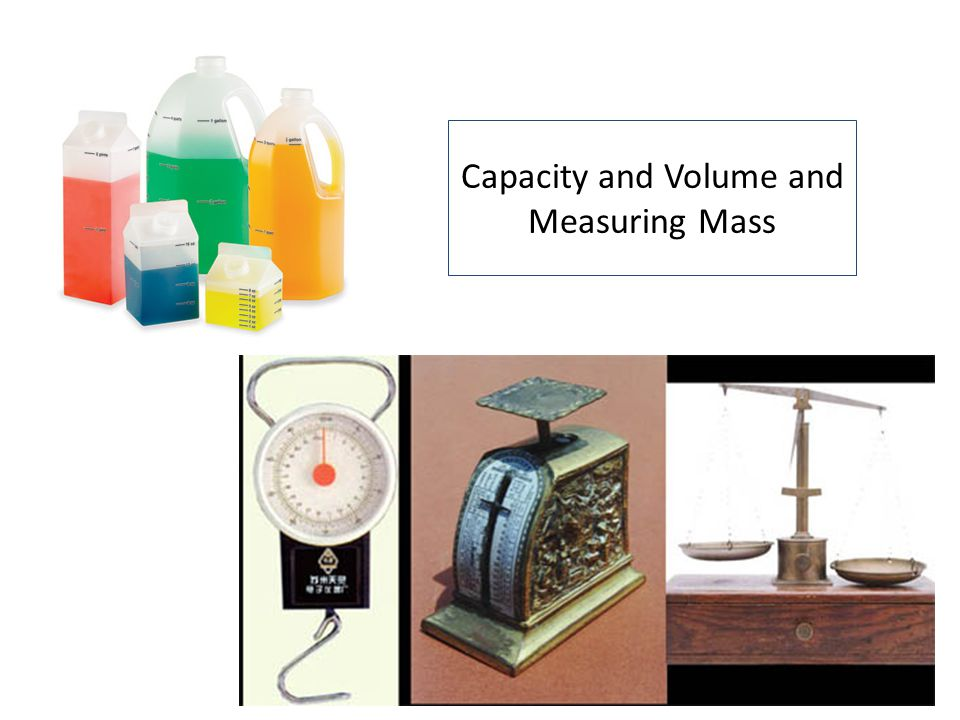 Capacity and Volume and Measuring Mass