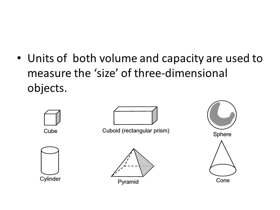 Units of both volume and capacity are used to measure the size of three-dimensional objects.