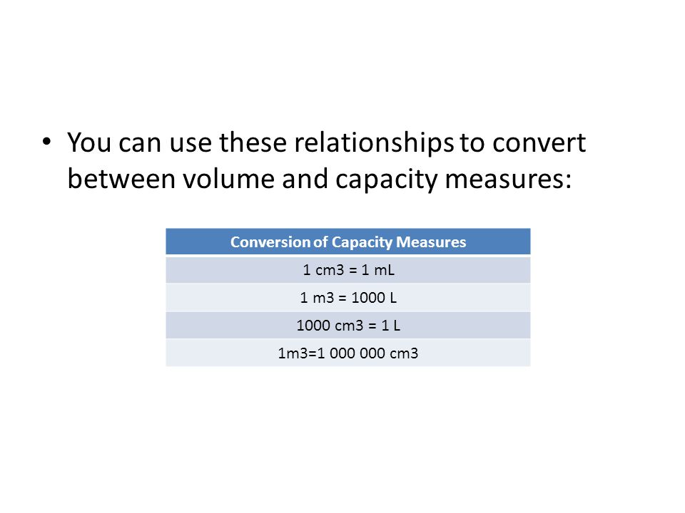 You can use these relationships to convert between volume and capacity measures: Conversion of Capacity Measures 1 cm3 = 1 mL 1 m3 = 1000 L 1000 cm3 =