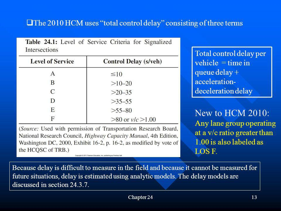 Chapter 2413 The 2010 HCM uses total control delay consisting of three terms Because delay is difficult to measure in the field and because it cannot