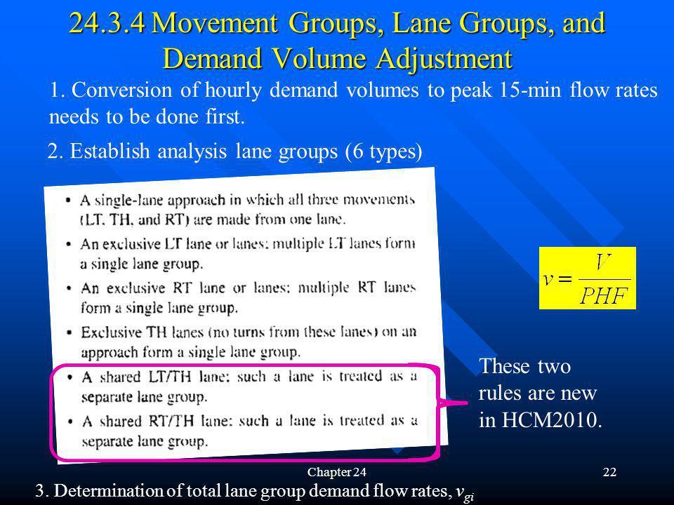 Chapter 2422 24.3.4 Movement Groups, Lane Groups, and Demand Volume Adjustment 3. Determination of total lane group demand flow rates, v gi 2. Establi