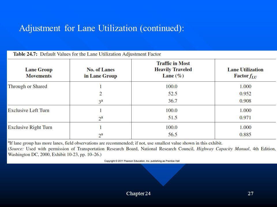Chapter 2427 Adjustment for Lane Utilization (continued):