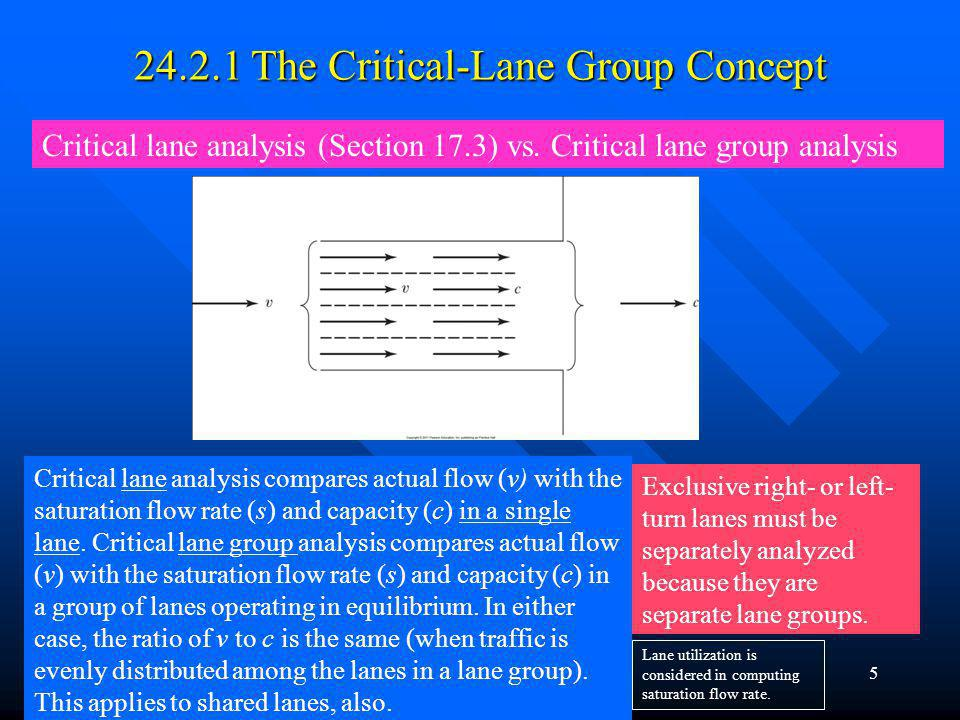 Chapter 245 24.2.1 The Critical-Lane Group Concept Critical lane analysis (Section 17.3) vs. Critical lane group analysis Critical lane analysis compa