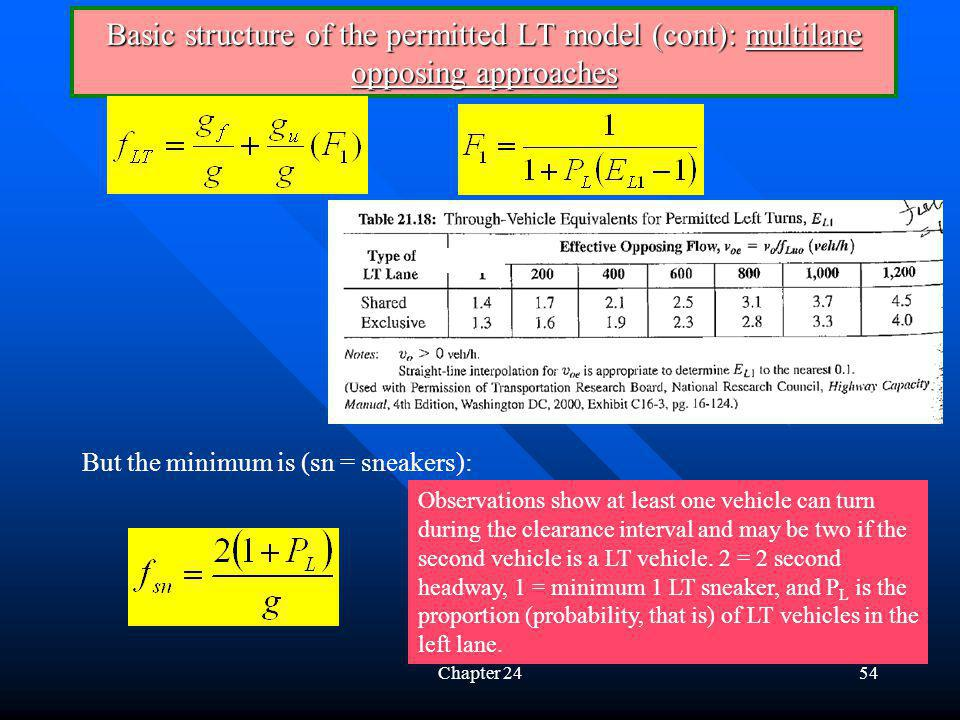 Chapter 2454 Basic structure of the permitted LT model (cont): multilane opposing approaches Observations show at least one vehicle can turn during th