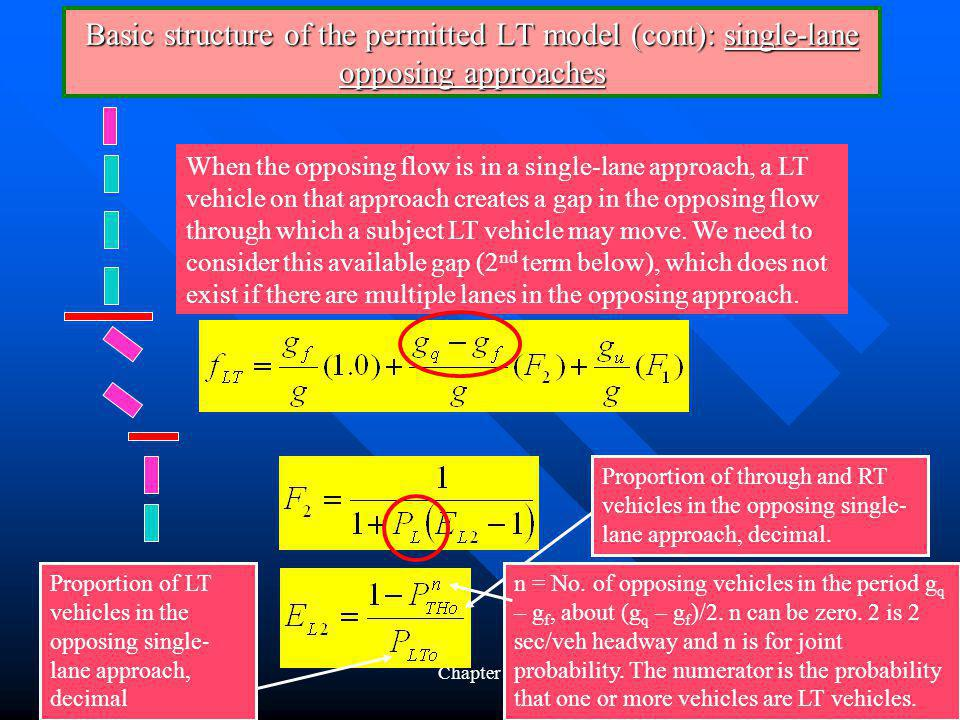 Chapter 2155 Basic structure of the permitted LT model (cont): single-lane opposing approaches When the opposing flow is in a single-lane approach, a LT vehicle on that approach creates a gap in the opposing flow through which a subject LT vehicle may move.