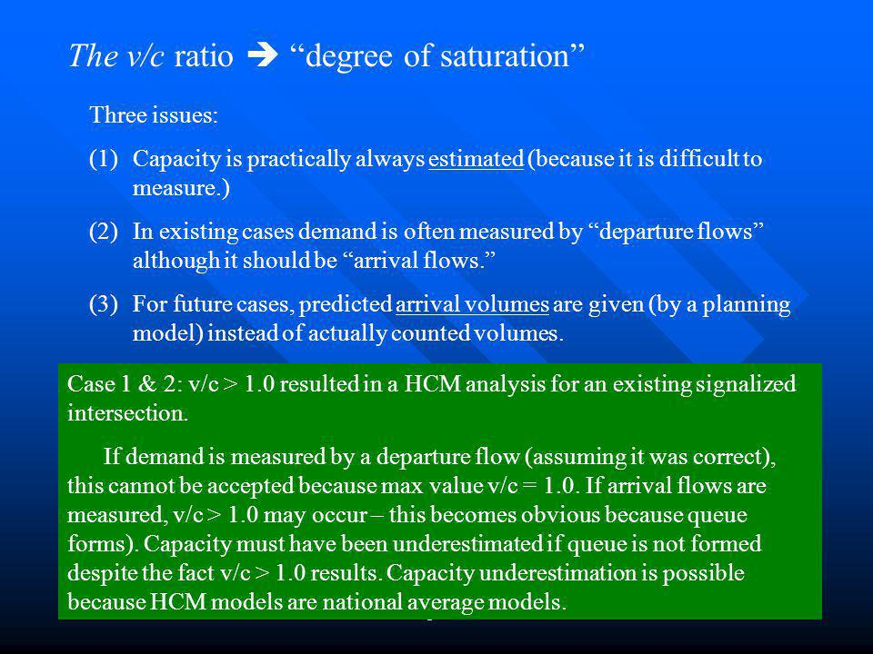 Chapter 248 The v/c ratio degree of saturation Three issues: (1)Capacity is practically always estimated (because it is difficult to measure.) (2)In existing cases demand is often measured by departure flows although it should be arrival flows.