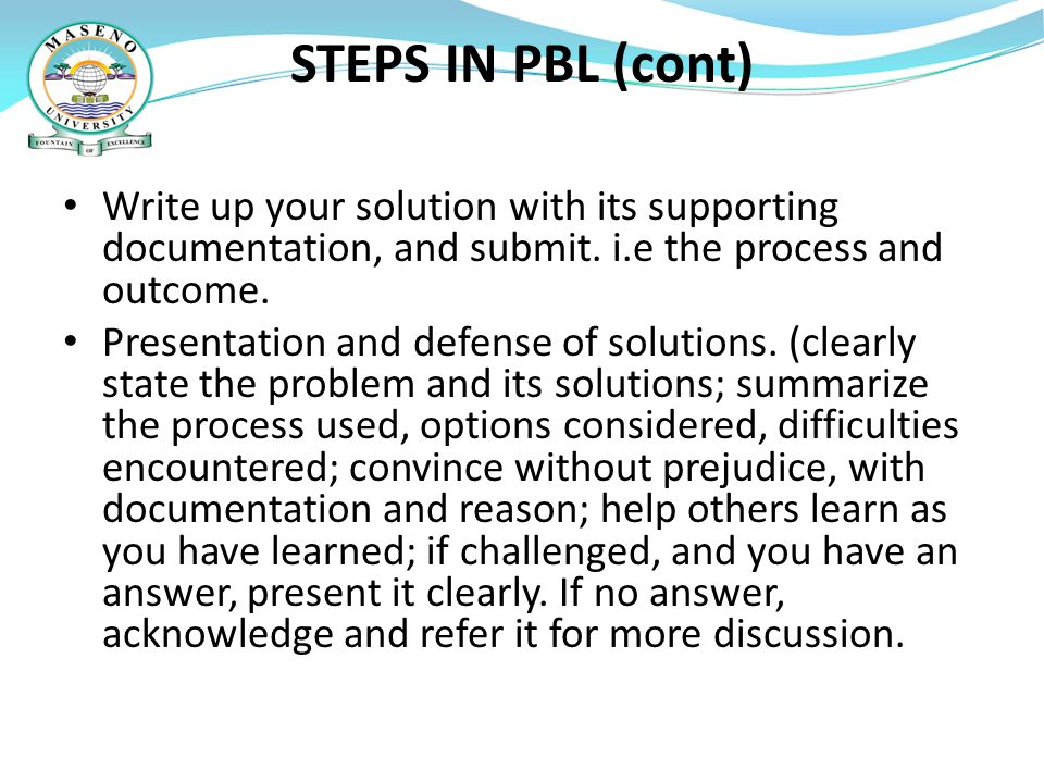 PBL AND CAPACITY BUILDING.
