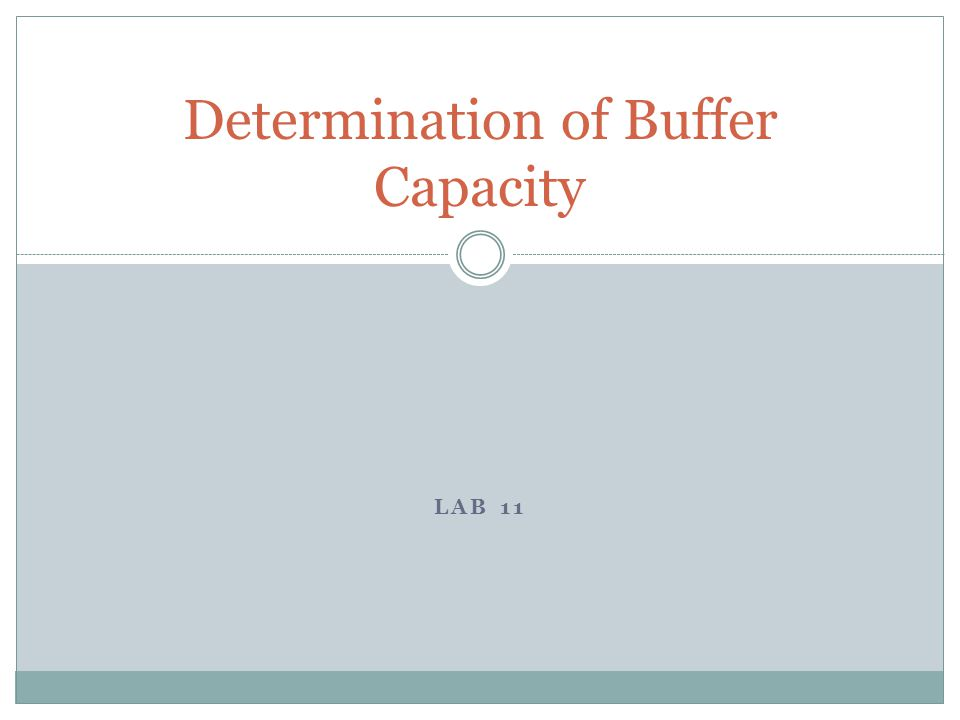 LAB 11 Determination of Buffer Capacity