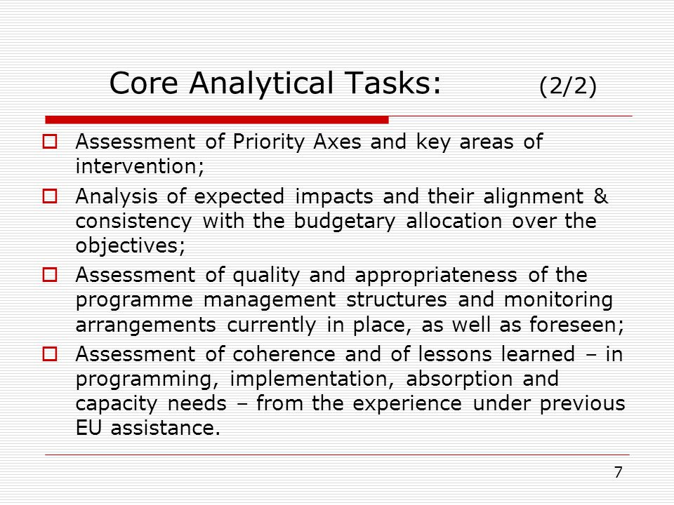 Analysis Instruments: (1/2) Use/processing of secondary source data: Desk-based review of background statistical data, Programme texts, other policy documentation.