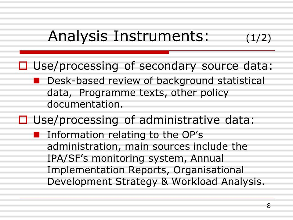 Analysis Instruments: (2/2) Stakeholder consultation: Through an interactive and iterative process between evaluators and programming authorities (interviews/meetings with MRDEUF & relevant Operating Structures).
