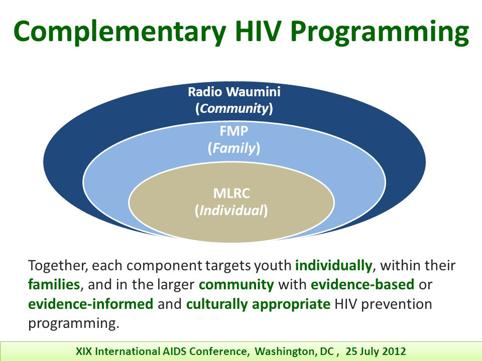 Lessons Learned o The complexities involved in international HIV prevention call for continued multidisciplinary collaborative efforts o Multiple perspectives on the contributing factors associated with the HIV/AIDS epidemic help to expand knowledge and skills beyond the confines of any one discipline or country of origin o They can promote program sustainability by building capacity in multiple areas, simultaneously o Sharing, utilization, and exchange of various skills that enhance the quality of program content and delivery XIX International AIDS Conference, Washington, DC, 25 July 2012 There are many benefits from having a multidisciplinary twinning partnership!