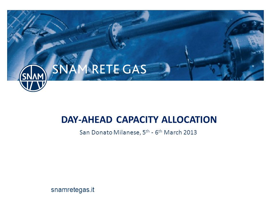 Day-ahead daily capacity auctions timing 22 The day-ahead capacity will be auctioned through two daily sessions: 1° session: allocation of firm capacity 2° session: allocation of interruptible capacity Snam Rete Gas will publish the capacity on offer for day-ahead booking process in due time for the Users requests: on SRG website, and on the PRISMA Platform (capacity will be converted in KWh/h) Nomination for Gas Day D Pubblish capacity on offer and 1° session auctions Comunication of 1° session auctions results Pubblish capacity on offer and 2° session auctions Outcome of matching process Comunicati on of 2° session auctions results Renomin ation for Gas Day D Outcome of matching process 13:0015:0016:30 – 17.0017:3017:30 – 18.0018:3019:0021:30