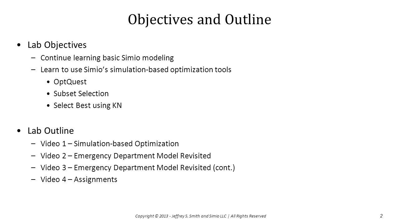 Video 1 – Simulation-based Optimization 3 Copyright © 2013 - Jeffrey S.