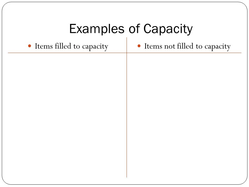 Examples of Capacity Items filled to capacity Items not filled to capacity