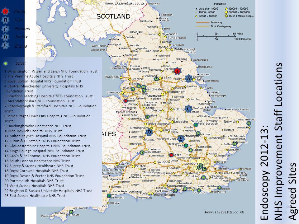 Lisa Fiona A B C D E A Hannah Janine Elaine B C D E 1 Wrightington, Wigan and Leigh NHS Foundation Trust 2 The Pennine Acute Hospitals NHS Trust 3 Roy