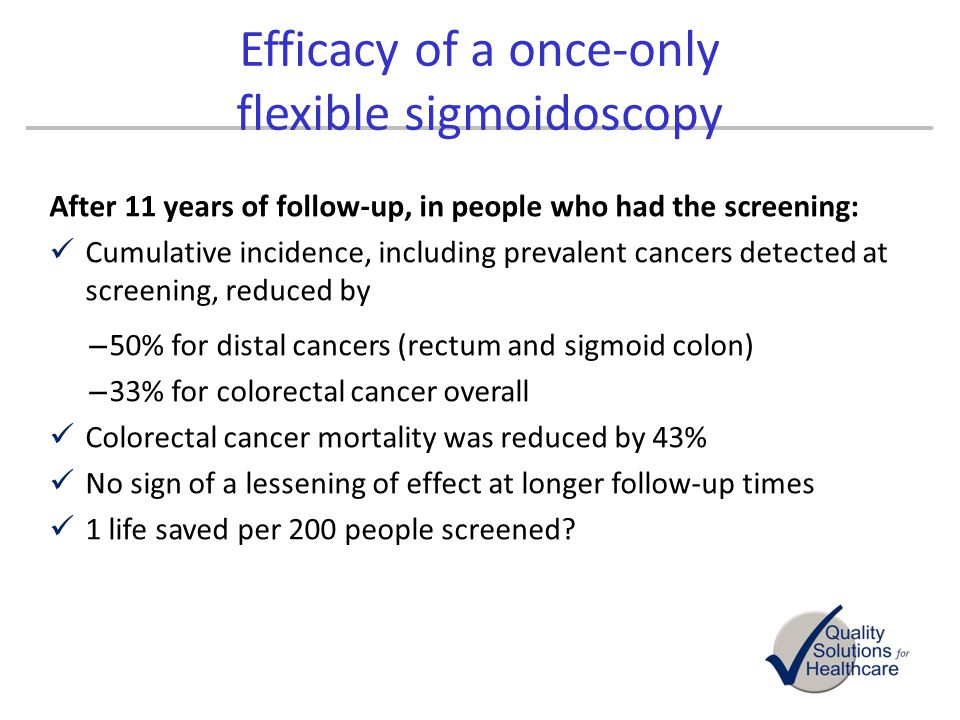 After 11 years of follow-up, in people who had the screening: Cumulative incidence, including prevalent cancers detected at screening, reduced by – 50