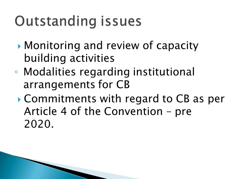 Monitoring and review of capacity building activities Modalities regarding institutional arrangements for CB Commitments with regard to CB as per Article 4 of the Convention – pre 2020.