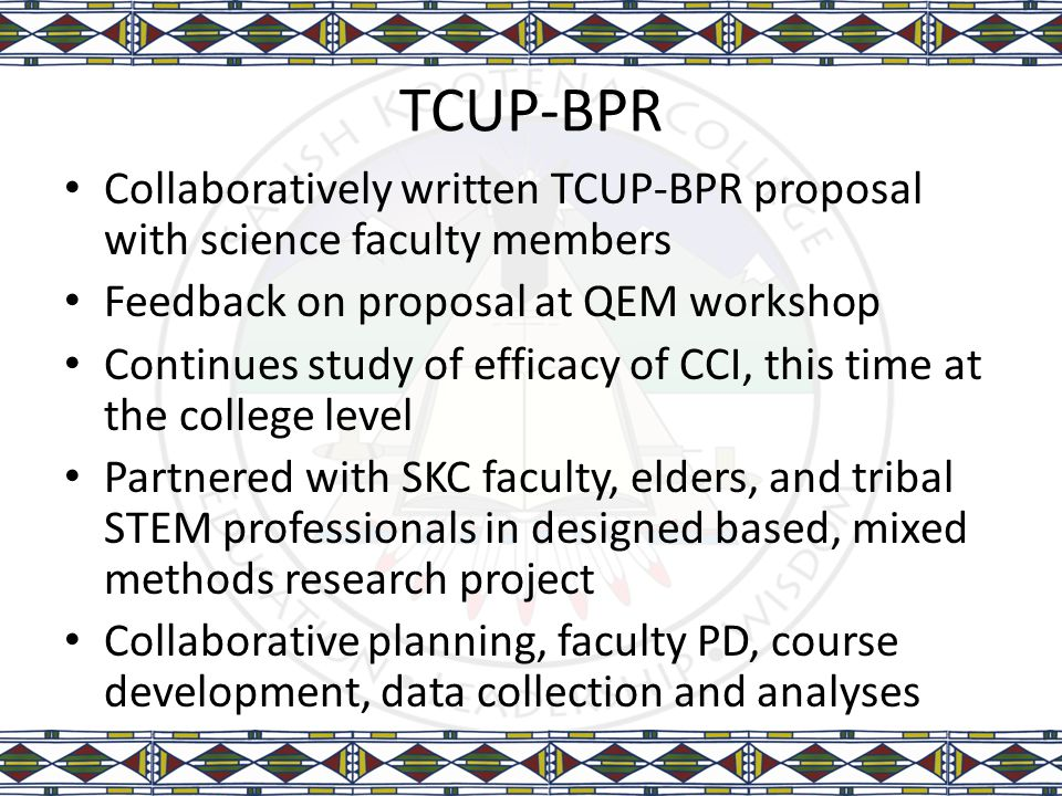 TCUP-BPR Collaboratively written TCUP-BPR proposal with science faculty members Feedback on proposal at QEM workshop Continues study of efficacy of CC