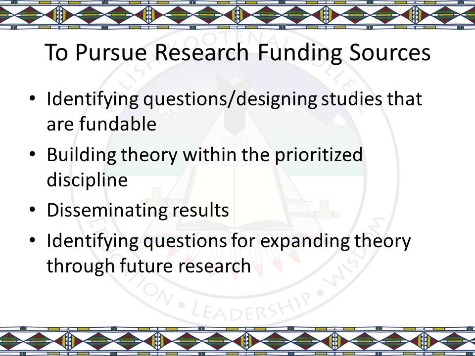 To Pursue Research Funding Sources Identifying questions/designing studies that are fundable Building theory within the prioritized discipline Dissemi