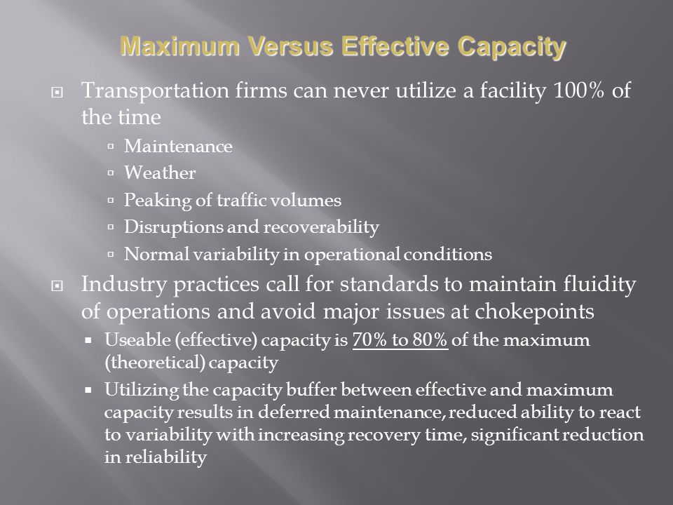 Transportation firms can never utilize a facility 100% of the time Maintenance Weather Peaking of traffic volumes Disruptions and recoverability Norma
