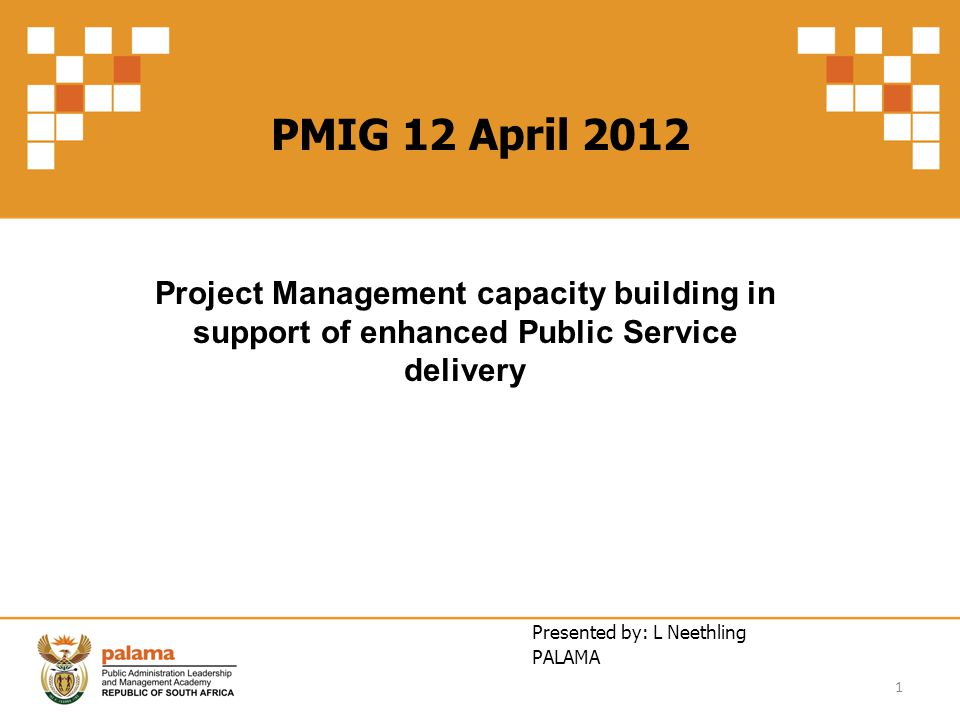 PMIG 12 April 2012 Project Management capacity building in support of enhanced Public Service delivery Presented by: L Neethling PALAMA 1