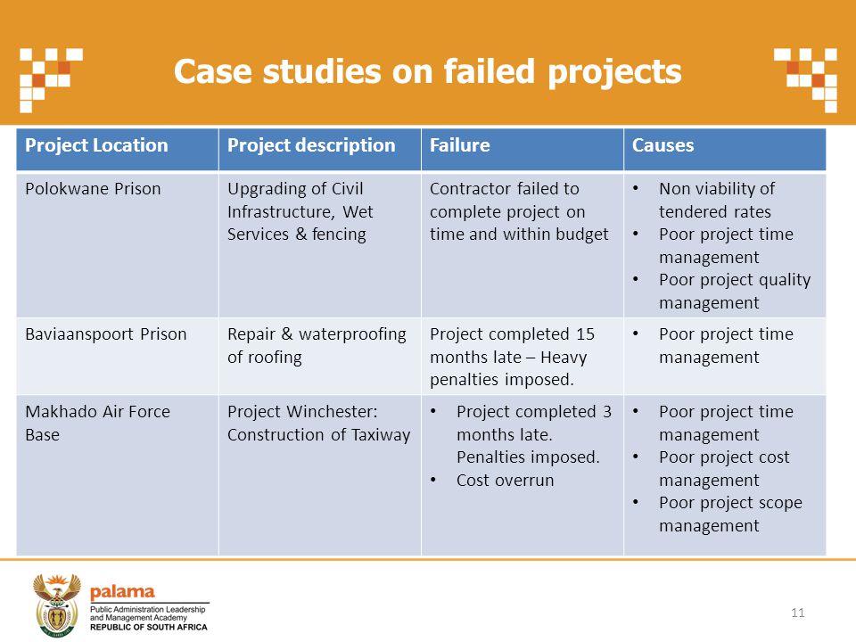 Case studies on failed projects 11 Project LocationProject descriptionFailureCauses Polokwane PrisonUpgrading of Civil Infrastructure, Wet Services &