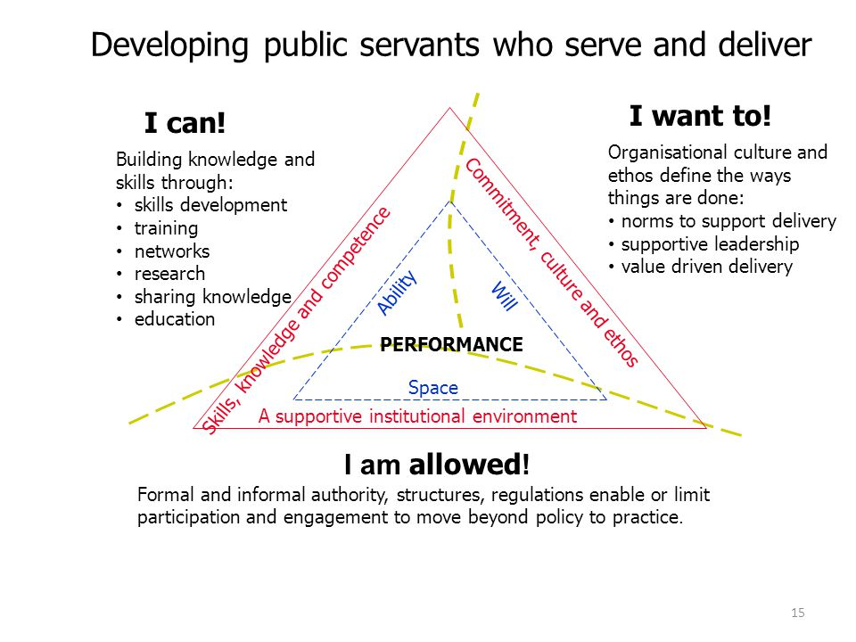 Developing public servants who serve and deliver Formal and informal authority, structures, regulations enable or limit participation and engagement t