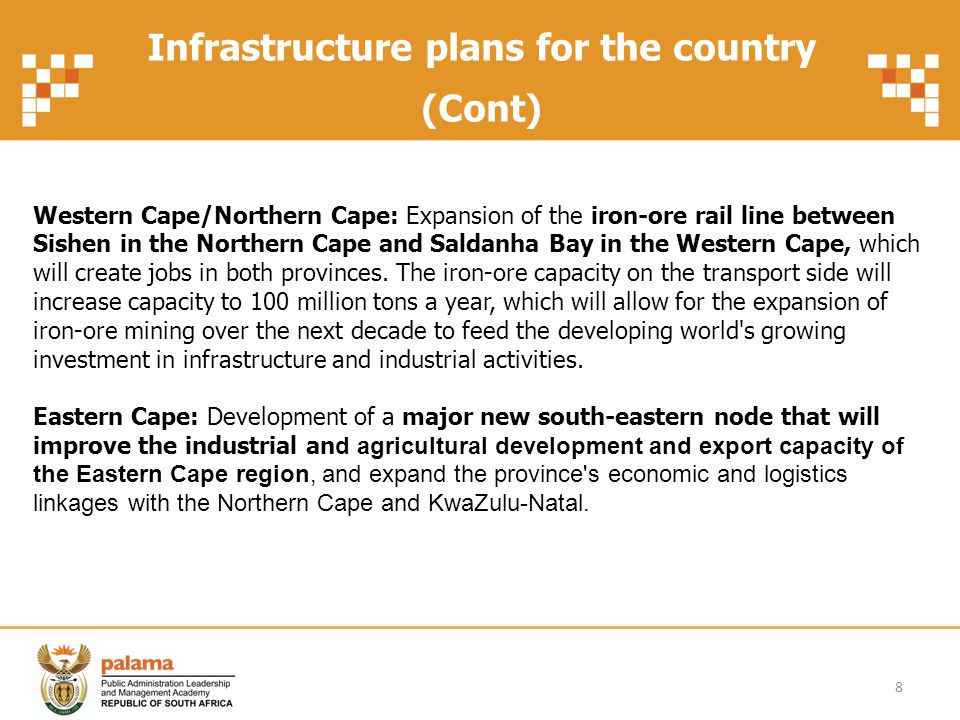 Projects and collaboration of key government departments Example: Municipal Infrastructure Grant 9 MIG Department of Corporate Governance National Treasury Department of Water Affairs and Forestry Department of Public Works Department of Transport Department of Housing Department of Sport and Recreation SA Provincial departments Municipalities