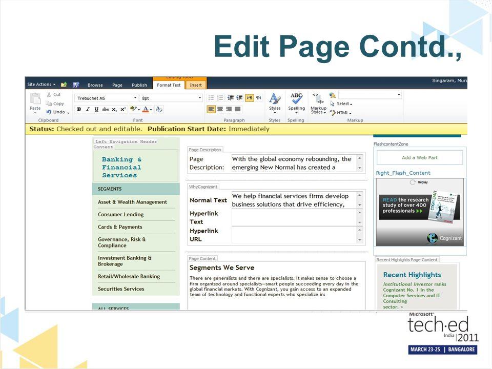 Edit Page Contd.,
