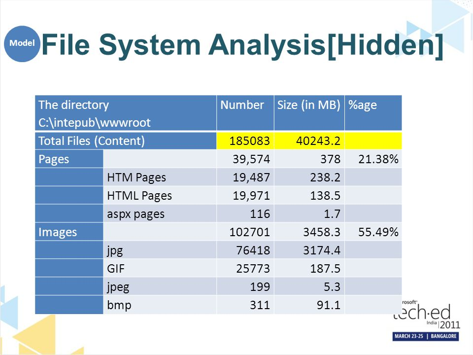 File System Analysis[Hidden] The directory C:\intepub\wwwroot NumberSize (in MB)%age Total Files (Content)18508340243.2 Pages39,57437821.38% HTM Pages